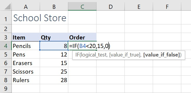 IF function example