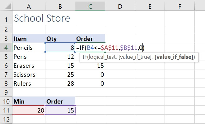 IF statement with absolute cell references