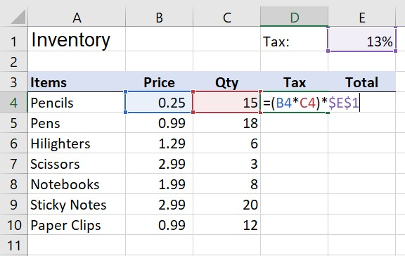 Referencing the value in cell E1 using an absolute cell reference
