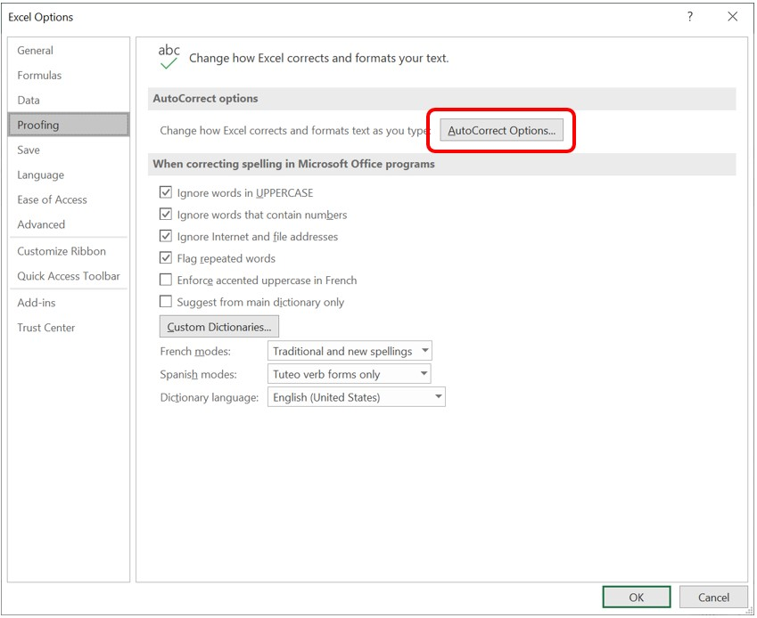 AutoCorrect Options button