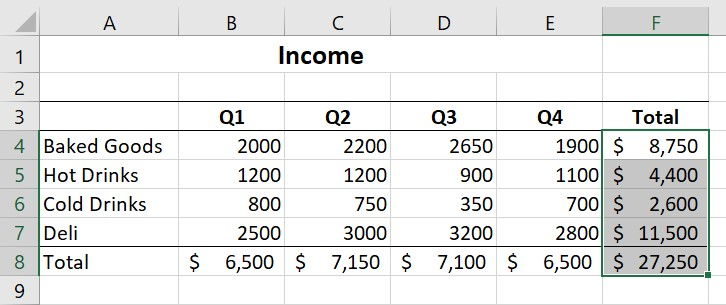 Calculating totals for multiple rows