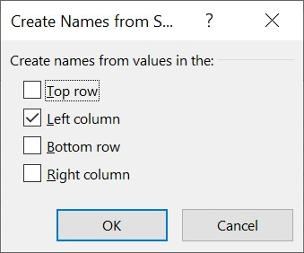 The Create Names from Selection dialog box