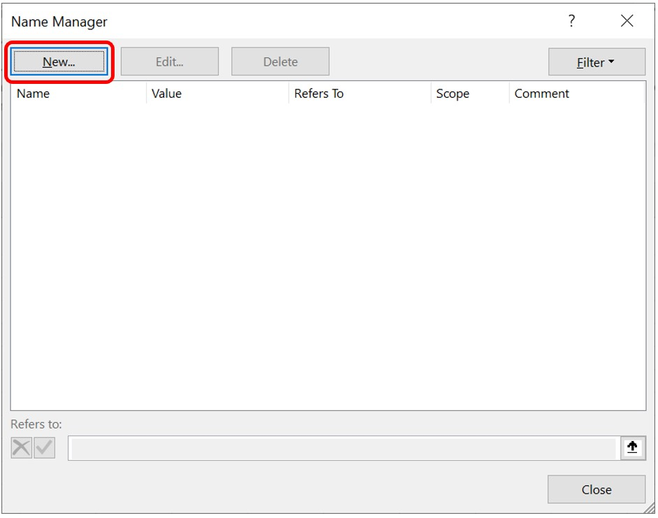 The New button highlighted in the Name Manager dialog box