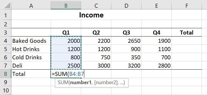 Using the SUM function to add values in B4:B7