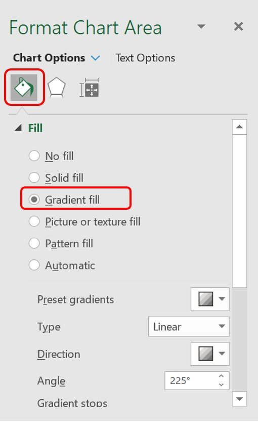 Gradient fill is selected in the Format Chart Area pane