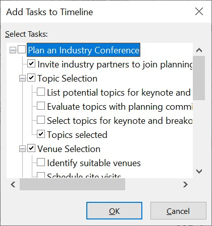 Add Tasks to Timeline Dialog Box