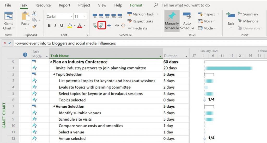 Detailed tasks indented below various summary tasks