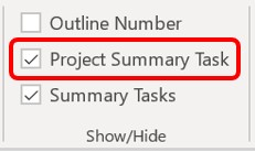 The Project Summary task checkbox