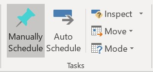 Manually scheduled task button selected in the Task group