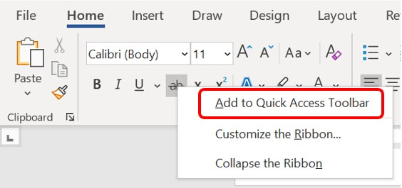 Add to Quick Access Toolbar command