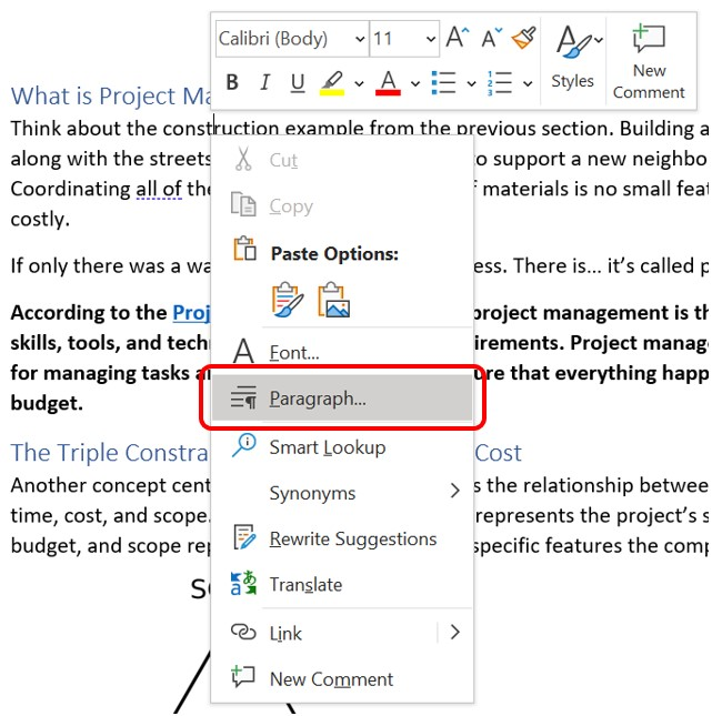 Paragraph command selected in the shortcut menu