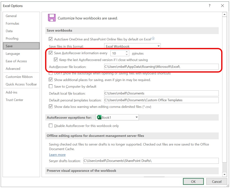 Set the AutoRecover interval in the Excel Options dialog box