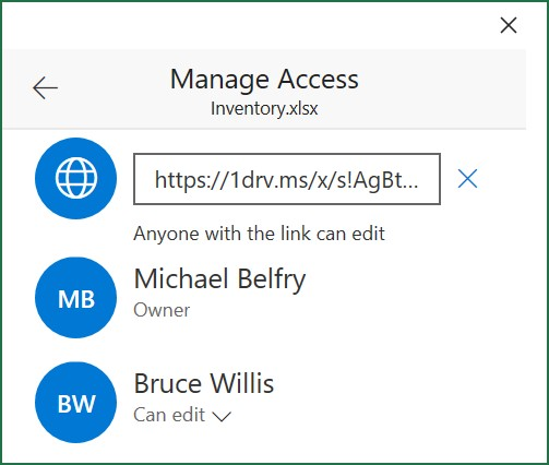 The Manage Access screen showing current permissions