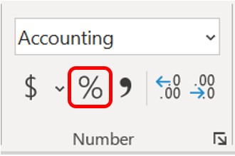 Percent Style button