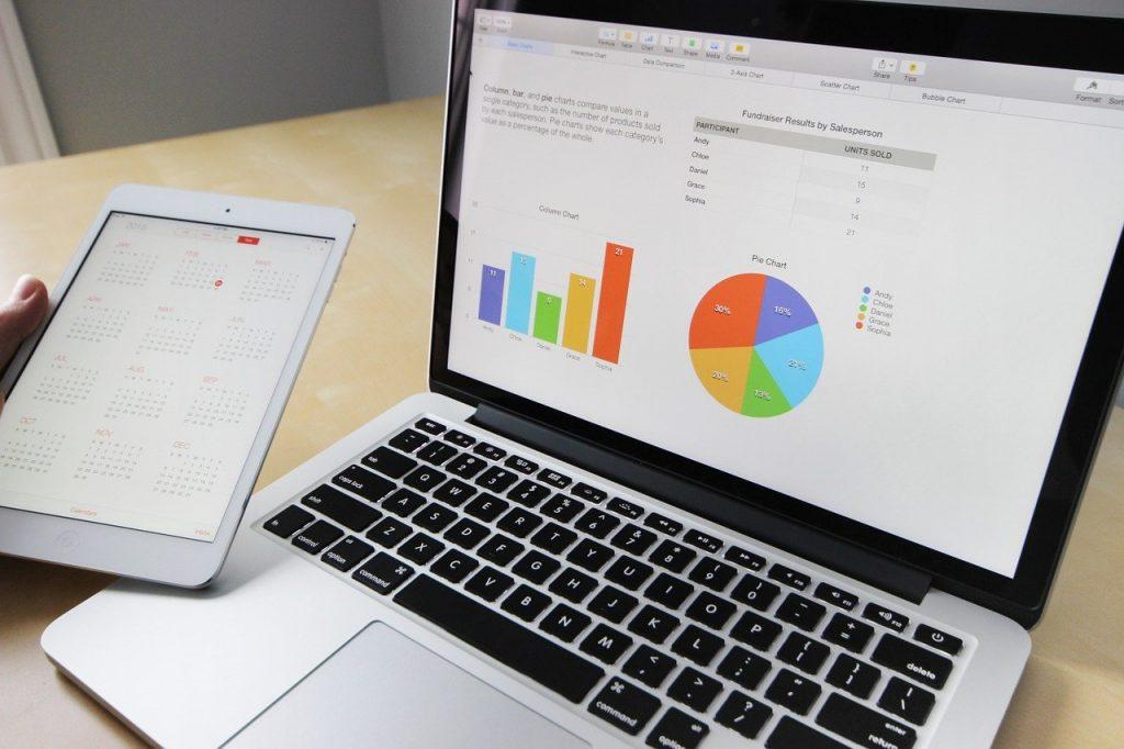 Spreadsheet on a laptop computer