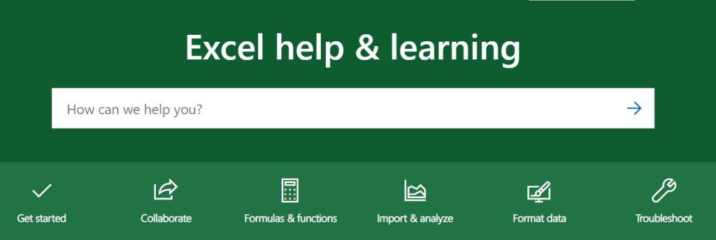 The Excel Help & Learning page at Microsoft
