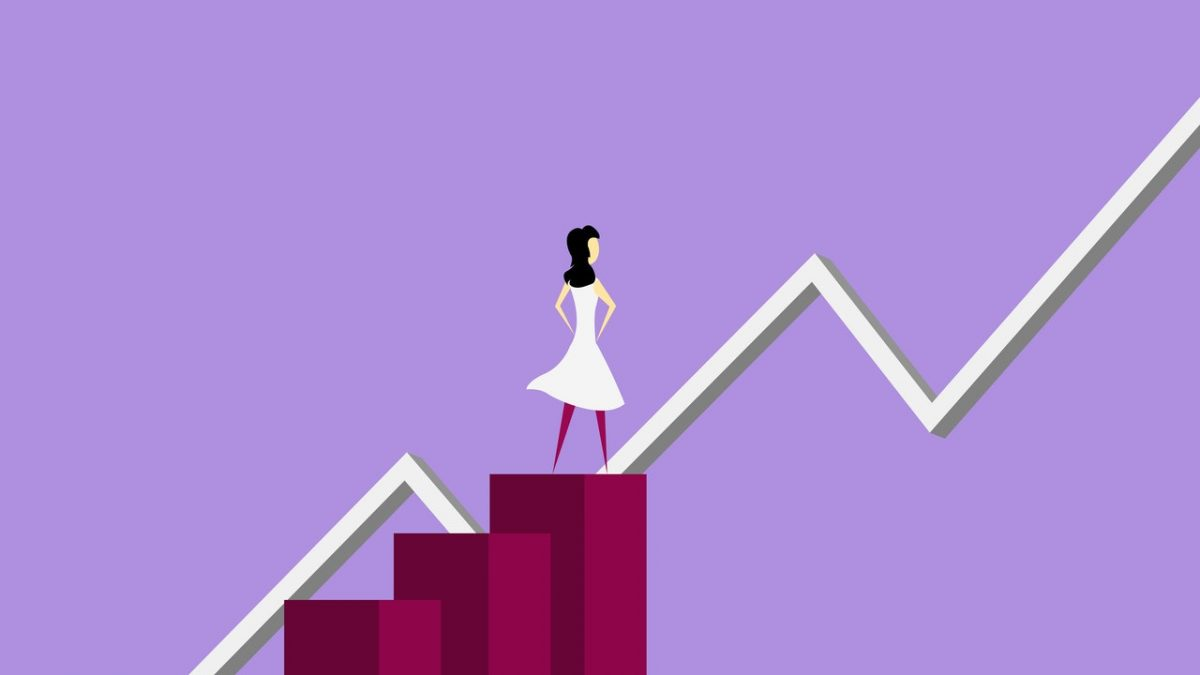 Chart illustration with woman on top